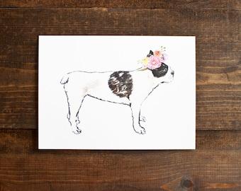 Floral crown French bulldog 5 x 7 print