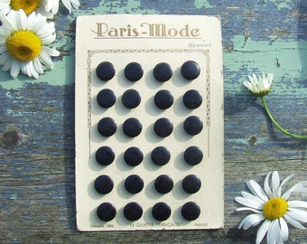 Vintage French Buttons 24 Black on Card Paris Mode, Black Buttons