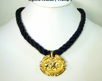 IVANA Trump Signed Gold Classical Pendant Necklace, Thick Woven Black Cord and Fabulous Golden Toggle Catch, Elegant