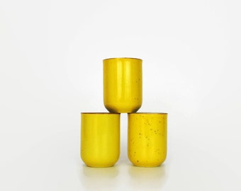 Vintage Set of 3 Yellow Speckled Asian Ceramic Cups // Desk Accessories // Bud Vase Trio