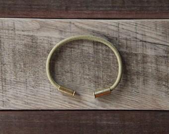 BRZN Bullet Casing Bracelet Gold Paracord recycled .22lr shells gold 550 paracord wire men women