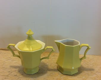 Vintage Ironstone Independence Yellow Sugar and Creamer Set, Made in Japan