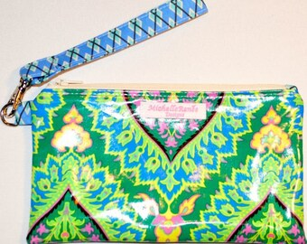 Wristlet - Water and Stain Resistant Laminated Cotton - Amy Butler Fabric - Sale!