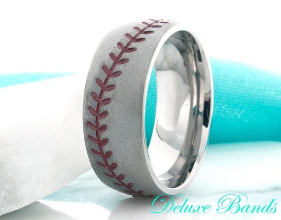 Titanium RingTitanium Baseball Wedding RingMens Wedding