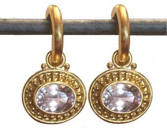 22k Morganite Granulated Drops/Dangles for Hoops - Interchangeable Earrings