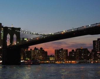 Sunset Photograph - Brooklyn Bridge - Downtown Manhattan - New York Cityscape - Twilight - New York Night Lights - Nature - Landscape