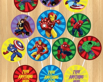 INSTANT DOWNLOAD - EDITABLE Avengers Cupcake Topper
