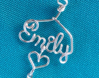 Personalized Belly Charm~Any Name~Custom Body Jewelry~Silver, Gold, or Rose Gold Wire~Heart and Swarovski Birthstone~Handcrafted Gift