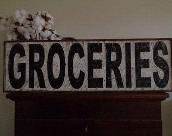 Groceries Sign, Vintage Groceries Sign,34x8.5, Fixer Upper Sign, Farmhouse Sign