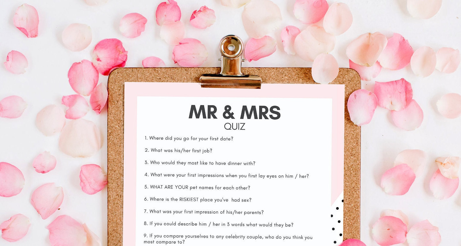 Mr And Mrs Hen Party Questions: HEN PARTY GAME Instant Download Mr & Mrs Quiz Printable