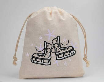 Ice Skates, Ice Skating, Birthday Party, Muslin Bags, Party Bags, Favor Bags, Treat Bags, Candy Bags, Fabric Bags, Goodie Bags