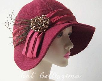 SALE deep red 1920's  Hat Vintage Style hat winter Hats hatbellissima ladies hats millinery wool hats big brim hats