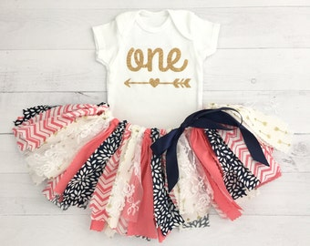Coral/Pink, Navy/Blue and Gold, Arrow Skirt, Arrow Bodysuit, First Birthday Outfit/Fabric Tutu/Baby Girl/Shirt with Age