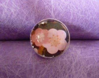 Pink flowers glass cabochon ring