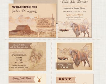Rustic Wyoming  illustrated wedding invitation Jackson Hole Rustic wedding Bison, Cowboy, Horse Destination wedding Deposit Payment