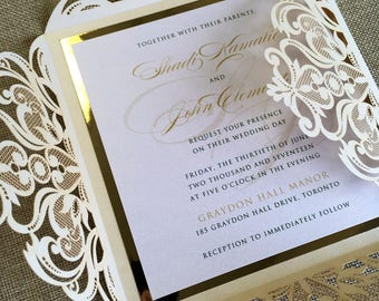 Gold Foil and Ivory Laser cut Wedding Invitation with custom belly band