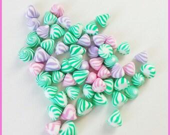 50 miniature berlingots Fimo polymer clay for jar - pastel