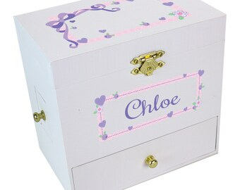 Personalized Lacey Bow Deluxe Musical Ballerina Jewelry Box