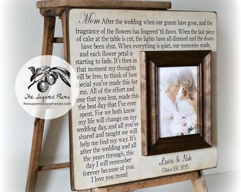 Unique Mother of the Bride Gift, Photo Frame, After the Wedding When Our Guests Have Gone, 16x16 The Sugared Plums Frames