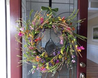 Summer Wreath-Summer Wreaths for Front Door-Wispy Wreath-Large Wreath-Large Wreaths for Front Door-Wreaths for Front Door-Wildflower Wreath