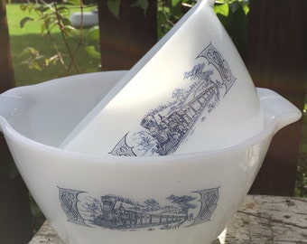 2 Vintage blue and white milk glass bowls farmhouse mixing bowls, nesting cinderella bowls Currier and Ives ovenware bowls blue transferware