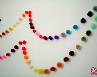 Pom Pom Garland, yarn pom pom garland, party, wedding, yarn ball, colorful, rainbow, mobile, carnival, decoration, iammie, 18 feet, 6 yards