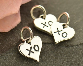 Sterling Silver Small Heart Charm with XO Hug and Kiss