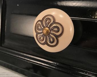 Knobs, Decorative Pull Ceramic Knob With Metal Apron, Craft Supply, Instant Furniture Upgrade Ceramic Drawer Pulls,Item #511808873