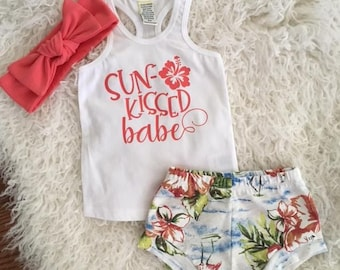 "NEW! ""Sun Kissed Babe""/Tropical Shorties/Coral/Infant Shorties Set/Toddler Shorties Set"