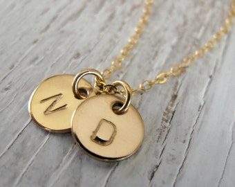 Personalized, Gold Hand Stamped Initial, TINY CHARMS, Mother's Necklace, Gift for Mom, Kid's Initials, Christmas Gift