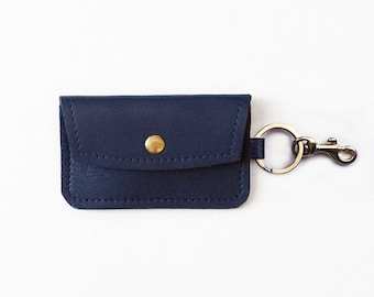 Black leather keychain wallet keychain coin purse keychain navy leather keychain wallet keychain credit card wallet id wallet business card holder gift card holder keychain metro card pouch colourmoves