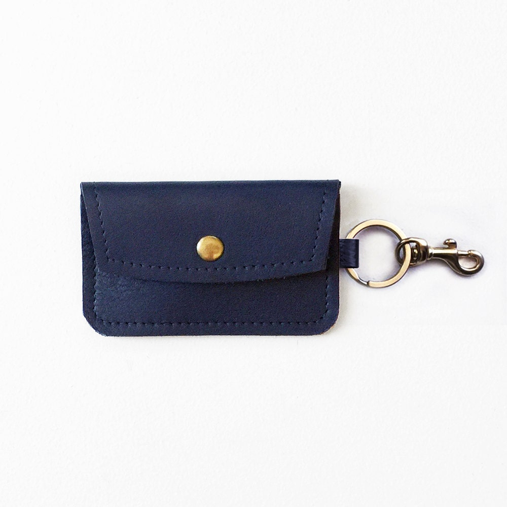 Navy Leather Keychain Wallet Keychain Credit Card Wallet ID