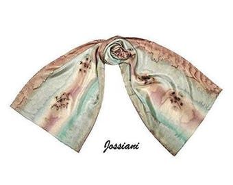 Hand Painted Scarf Scarf, Small Petite Coverup, Hand Dyed One of a Kind, Neutral Earth Tones, Artisan Handmade, Jossiani.