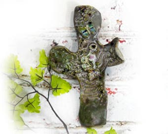 Art Cross -  Religious home decor,  Decorated Art Wall Cross, unique wall cross , ceramic cross-House warming  cross -Christian Cross, #