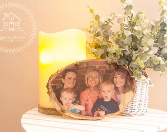 Large Rustic Photo Block, mothers day gift, Family Photo, Wooden Transfer, Natural Photo Frame, Large Wood Slice, mom gift