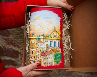 Gift for Travelers Notebook - Rome Journal - Travel Gift - Rome Notebook - Leather Journal - Italian Gift - Hand Painted Rome Discovery