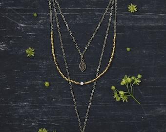Layered necklace, boho necklace, layered necklace set, hippie necklace, flower necklace, boho jewelry, bohemian necklace, gold necklace