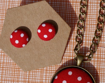 Red Spots Earrings & Pendant Necklace- Matching Set