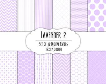 Lavender Purple 2 Digital Scrapbook Paper 12x12 Pack - Set of 12 - Polka Dots, Chevron Hexagon - Instant Download - Item# 8116