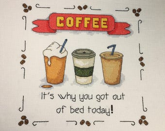 Cross Stitch Pattern - Coffee Out of Bed - (downloadable pdf)