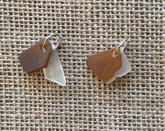 Sea Glass Charm Set (Clear/White and Brown Two-Piece)