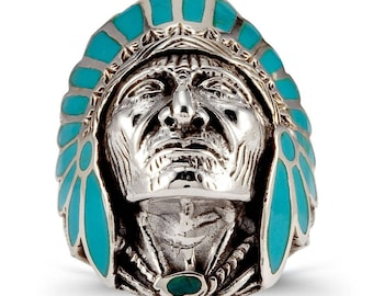 Teal Enamel 925 Silver Native American Indian Chief Head Ring