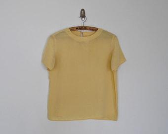 Vintage 80s yellow silk crop blouse // Size S