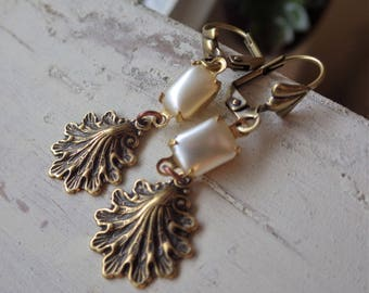Seashell Earrings ~ Glass Pearls ~ Boho Style ~ Antiqued Brass ~ Pearl Dangles ~ by WakesTheDawn