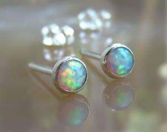 Opal Earrings, White Opal Stud Earrings, Opal Post Earrings
