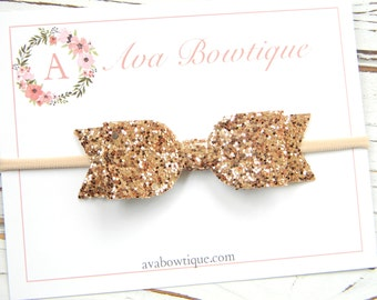 Rose Gold Bow Headband - Gold Glitter Bow Headband - Baby Bow Headband - Nylon Headband