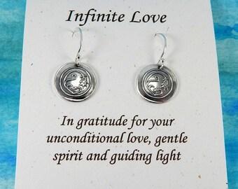 Infinite Love Earrings, Inspirational Jewelry, Bellflower Earrings, Valentine's Day Jewelry, Love Charms, Fine Silver Earrings