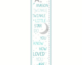 Boy Growth Chart - Canvas Growth Chart, Twinkle Twinkle Little Star, Blue Growth Chart, Boy's Room, Nursery Decor