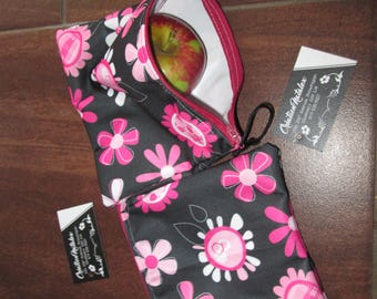 Bag snack, sandwich bag, bag reutilisable.sac Pul floral black background