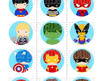 INSTANT DOWNLOAD - PRINTABLE Superhero Boys Party Rounds - Assorted Cupcake Toppers by The Birthday House